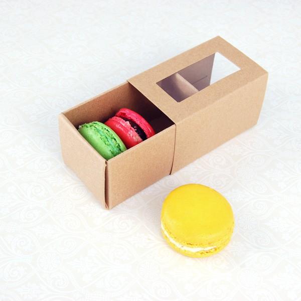 3 Macaroon Window Kraft Brown Boxes($1.25/pc x 25 units)
